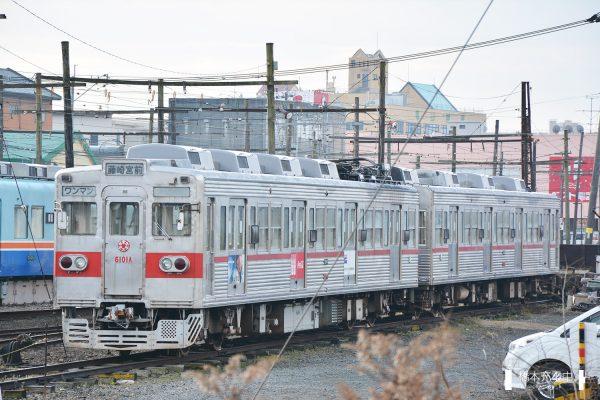 熊本電鉄6000形 6101A+6108A/2016-01-31 北熊本(敷地外より撮影)