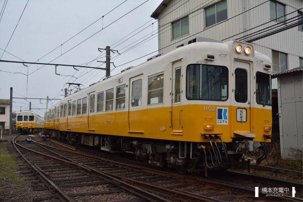 高松琴平電鉄1100形 1101-1102/仏生山駅へ入線する1101-1102(2018-01-22 空港通り-仏生山)